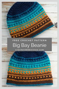 Crochet hat made with Caron Pantone yarn. Free pattern by Crochet 365 Knit Too. # crochet hats free pattern Crochet Big Bay Beanie - Crochet 365 Knit Too Bonnet Crochet, Crochet Beanie Pattern, Knit Crochet, Beanie Diy, Crochet Simple, Easy Crochet Hat, Confection Au Crochet, Crochet Gifts, Crochet Hat Patterns