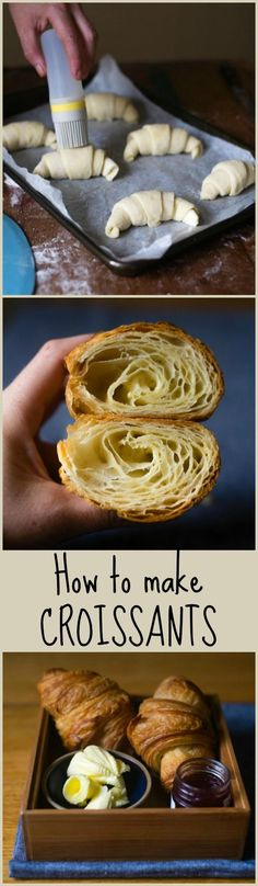This is a delicious recipe for croissants from the Bouchon Bakery. The recipe takes a little time and effort, but it's completely worth it. These croissants are absolutely perfect! Weight Watcher Desserts, Croissants, Croissant Recipe, French Bakery, French Patisserie, Bread Baking, Tray Bakes, Baking Recipes, Food And Drink