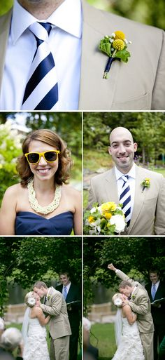 Love this nautical yellow and navy theme! {Ampersand Wedding Photography}