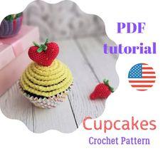 Crochet Animal Patterns, Crochet Doll Pattern, Amigurumi Patterns, Amigurumi Toys, Crochet Cupcake, Crochet Food, Handmade Toys, Handmade Crafts, Handmade Ideas