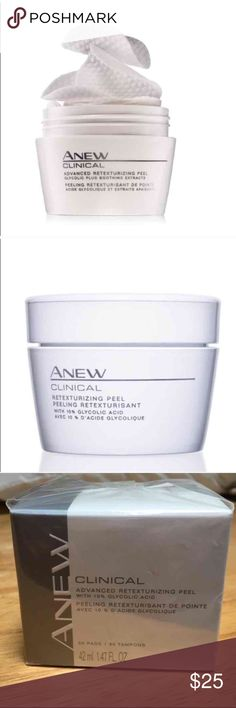 RETEXTURIZING Peel with Glycolic Acid- Brand New An spa treatment with the ease of staying at home. The Anew Clinical RETEXTURIZING PEEL has shown superior results to a professional 35% grade glycolic PEEL. 30 unscented pads. BRAND NEW in Retail box.  BENEFITS  • Cleans skin and heals blemishes • Smooths and removes visible damaged skin for younger appearance • Exfoliates &resurfaces skin without drying it and makes skin feel firmer • Allergy-tested, dermatologist-tested  • Use 2-3 times a…