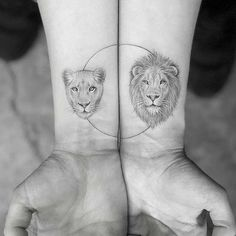 Perfect And Forever Couple Matching Tattoos For The Hopeless Romantics; - Perfect And Forever Couple Matching Tattoos For The Hopeless Romantics; Leo Tattoos, Friend Tattoos, Body Art Tattoos, Lion Tattoos For Men, Small Lion Tattoo For Women, Lion Tattoo Meaning, Tattoos With Meaning, Lion Meaning, Tattoo Meanings