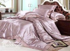 Pomposo 4 Piece Silk Floss Bedding Sets with Smoky Gray Dot #silkbedding #beddingset Live a better life start with @beddinginn