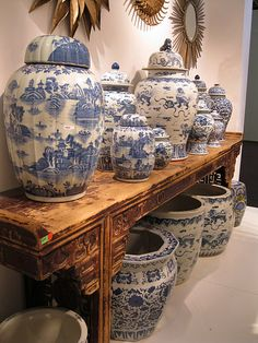 Blue & White - Temple Jars, Wedding Jars, Ginger Jars and Fish Bowls. A Wonderful Asian Alter Table