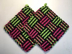 Your place to buy and sell all things handmade Potholder Loom, Crochet Potholder Patterns, Weaving Patterns, Hot Pads, Spring Green, Pink Black, Pot Holders, Knit Crochet, Weave