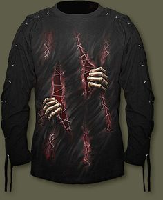 Spiral Black 'Scarred' Men's Lace Up Sleeves Top