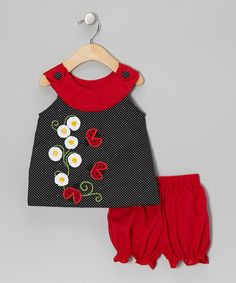Take a look at this Stellybelly Black Ladybug Yoke Top & Red Bloomers - Infant on zulily today!