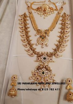 Beautiful choker necklace and long haaram. Choker with peacock design. Necklace with triple layer ball chains and pendant. Long haaram with mango hangings. Long haaram studded with multi precious stones. Bridal set with matching earrings. 13 April 2018