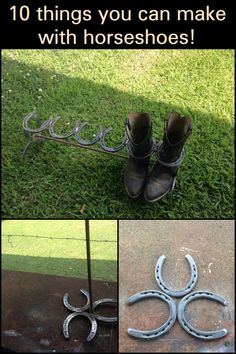 10 things you can make with horseshoes! Has your growing pony outgrown their horseshoes? Turn them into these rustic decor designs. Horseshoe Boot Rack, Horseshoe Wreath, Horseshoe Crafts, Horseshoe Christmas Tree, Recycling Ideas, Fairy Doors, Horseshoes, Home Decor Trends, Easy Diy Projects