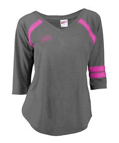 Another great find on #zulily! Gunmetal & Pink Glo Jersey Burnout V-Neck Tee #zulilyfinds