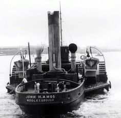 John Amos tug on the Tees. River Tees, Offshore Boats, Steam Boats, Boat Art, Paddle Boat, Tug Boats, Small Boats, Power Boats, Steam Engine