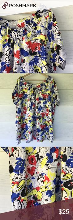 Harve benard blouse Size 2x. This beautiful blouse is silky to the touch. Bright blue and yellow floral print on a white background with black details. Super pretty Harve Benard Tops