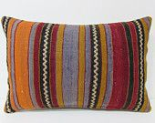 kilim pillow blue 16x24 red decorative pillow orange throw pillow art pillow cover bench decorative pillow boho chic tapestry pillows 23235