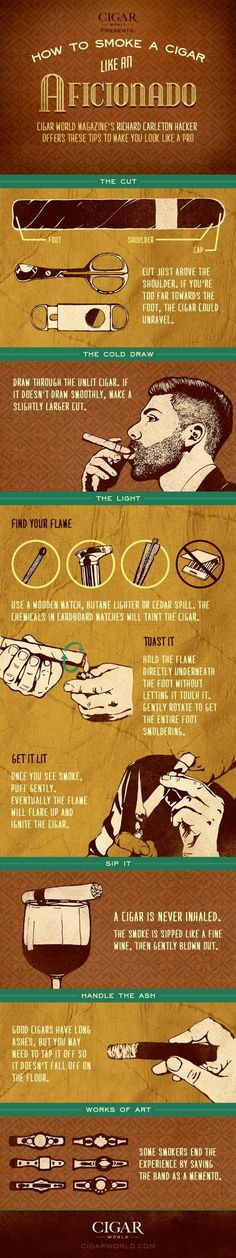 Whilst I don't currently smoke, nor recommend it, a reawakened trend over the past few years is that of smoking cigars, particularly whilst drinking whiskey. Here is a guide for the gentleman. Cigars And Whiskey, Good Cigars, Pipes And Cigars, Cuban Cigars, Tiki Bars, Car Part Furniture, Automotive Furniture, Automotive Decor, Moderne Lofts