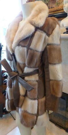Great Vintage Mod Era Patchwork Autumn Haze/Cream Mink Coat (see Measurements) by IndulgeVintageAndArt on Etsy Winter Fashion 2015, Leather Working Patterns, Fur Coat Fashion, Duffle Coat, Vintage Fur, Mink Fur, Vest Jacket, Autumn, Jackets
