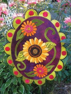 Late Bloomers Wool Applique Penny Rug                                                                                                                                                     More