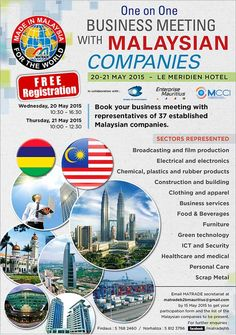 MATRADE - One on One BUSINESS MEETING with MALAYSIAN Companies. Tel: 5812 3796