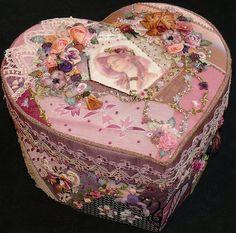 Crazy quilt heart box