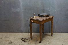 vintage industrial inventors oak desk: factory 20