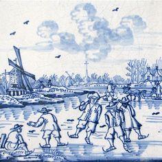 Ansichtkaart, Delfts blauwe tegel met molen en schaatsers, Museum webshop