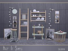 The set includes 17 objects. Has white, black, green and light brown colors. Items in the set:  Found in TSR Category 'Sims 4 Miscellaneous Sets'