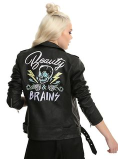 Beauty & Brains Painted Back Faux Leather Girls Moto Jacket, BLACK