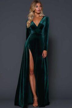 A beautiful full length dress by Elle Zeitoune. A velvet gown featuring a deep v-neckline and high side split. Gala Dresses, Dress Outfits, Fashion Dresses, Dresses Dresses, Dress Clothes, Dance Dresses, Vestidos Velvet, Velvet Bridesmaid Dresses, Velvet Wedding Dresses