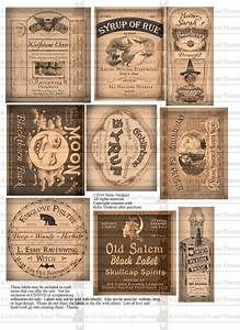 Vintage Halloween Witch Potion Bottle Labels Digital Download Collage Sheet Printable Tags ...