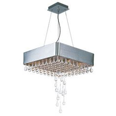 The Drops collection doubles as kinetic art with hanging crystal teardrops descending from a chrome-plated grid of crystals and anchored by a Brushed Aluminum frame. The 20 Watt G4 Xenon bulbs give the crystal drops an ethereal glow, drawing the eye upwards. The Drops collection riffs on the roaring 20's with its Gatsbyesque use of art deco styling. Flush Mount Chandelier, Maxim Lighting, Hanging Crystals, Kinetic Art, Crystal Drop, Ethereal, Bulbs, Grid, Plating