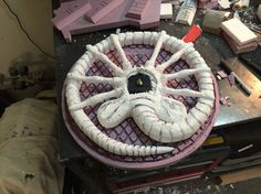 """Alien"" themed clock. Made from XPS and EPS foam. #Facehugger #Alien #Clock"