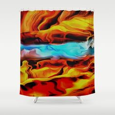 Abstract art using the language of shape, form, color and line:  #Fire and #Ice #Shower #Curtain by #Taiche | Society6 https://society6.com/product/fire-and-ice-vkc_shower-curtain#s6-8090361p34a35v287