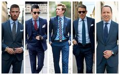The Complete Guide to Men's Shirt, Tie and Suit Combinations - TTS Blue Suit Blue Shirt, Navy Suit Blue Shirt, Blue Pants Men, Blue Suit Men, Blue Shirt Dress, Blue Suits, Gingham Shirt, Navy Pants, Navy Blue Suit Combinations
