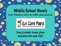 Over thirty middle school novels on this page and each one has FREE printables!  Hoot, Maniac Magee, The Boy in the Striped Pajamas, The Watsons Go to Birmingham, The Cay, The Outsiders, and many more.  Great resource!
