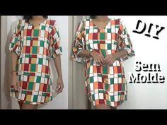 DIY Vestido Manga 3/4 Fácil Sem Molde - YouTube Blazer Outfits Casual, Diy Vestidos, Diy Vetement, Cover Up, Short Sleeve Dresses, Sewing, Youtube, Friends, Clothes