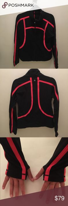 lululemon athletica - luon jacket Gently used, like new! Fabric is still super soft and shows no sign of pilling. Black with coral piping. Snug fit but not super fitted like a define jacket. No trades. lululemon athletica Jackets & Coats