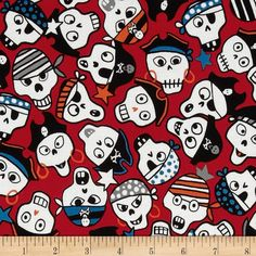 Monkey's Bizness Ahoy Pirate Skulls Red from @fabricdotcom  Designed by DeLeon Design Group for Alexander Henry, this cotton print fabric is perfect for quilting, apparel and home decor accents. Colors include orange, blue, black and white on a red background.