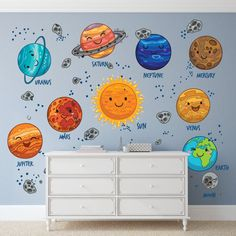 Cartoon Planets Wall Decals For New Babies / Solar System