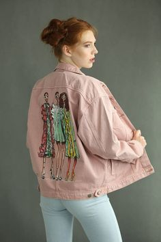 Denim jacket 100% cotton, hand painted by Maluyou shop. Our shop wants the customers to receive unique, special pieces of clothes. So our jackets and shorts are in 1 piece only. We guarantee 100% quality of our paintings. We have more than 25 years of experience in art, so we know what we