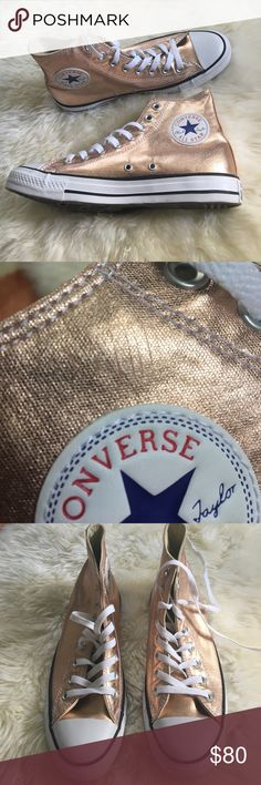 Rose gold high top Converse All Star sneakers 8.5 Brand new- just too big for me. Size 8.5 women's. Inside on left shoe has several marks (see second photo). Cannot see unless looking closely and can't see when on your feet- does not impact the shoe ☺️. Freaking adorable I wish they fit me! Converse Shoes Sneakers