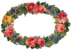 Blumenranken - Tendrils of flowers - Vrilles de fleurs Vintage Ephemera, Vintage Cards, Vintage Images, Clipart Vintage, Vintage Pictures, Decoupage, Flower Images, Flower Art, Victorian Frame