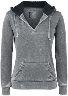 "Hoodie by R.E.D. by EMP:  - burnout - hood with teddy-bear cloth and drawstring - front pocket - rough and comfy inner material - soft material - silicone label - V neck  - vintage style - ribbed cuffs  Ladies? How about the grey ""Burnout V-Neck"" girls hoodies by R.E.D. by EMP? The grey hoodie really rocks thanks to the burnout optics. Cool detail: The hood is lined with teddy-bear cloth and keeps you warm and cozy. The V neck really rounds the whole thing off."