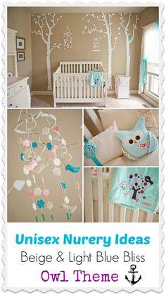 Beige Nursery Room With Blue Accents. #babyroom #ideasbabyroom #unisex