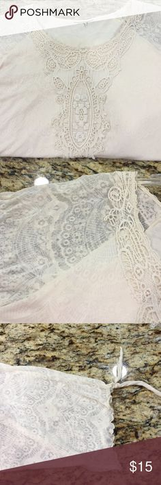 Style and Co. Cream Lace top Tag removed for comfort . This top is so pretty and very feminine . A cream plain thin top is under it with a cream lacy patterned overlay attached. The sleeves you see through the lace pattern and are three qtr with a small tie. Crochet trims the neck and completely down the front. There are no stains are pills on this top❤️. Don't miss out!!! Style & Co Tops