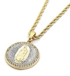 "Mens Gold Tone Si Stardust Round Virgin Guadalupe Pendant 4mm 24"" Rope Chain Necklace *** Find out more about the great product at the image link."