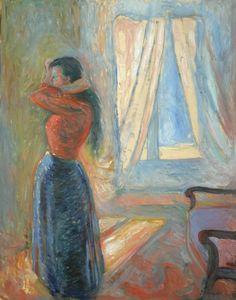 Edvard Munch, Mujer mirándose al espejo, 1892. Óleo sobre lienzo, 92 x 73 cm, Colección particular