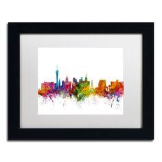 Las Vegas Nevada Skyline by Michael Tompsett Framed Graphic Art