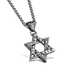 5c4ef9f90cf1 Stainless Steel Paisley Detailed Six-Point Star Pendant Necklace Star  Necklace