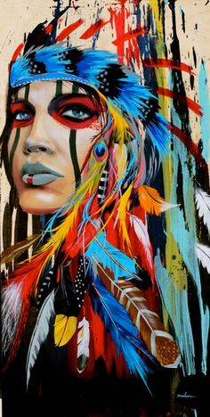 Really cool multi-colored tribal painting. Artist: Darrell Driver