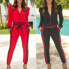 Contrast Binding Leg of Mutton Sleeve Pantsuit Sporty Outfits, Trendy Outfits, Cute Outfits, Fashion Outfits, Leg Of Mutton Sleeve, Joggers Outfit, Gym Clothes Women, Pantsuits For Women, Love Fashion