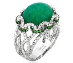 Infinity Emerald and Diamond Ring by Yael Designs